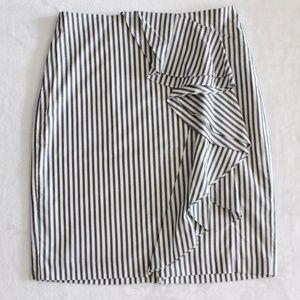 Banana Republic Gray White Striped Pencil Skirt